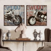 Vintage Harley motorcycle canvas wall art modern home ...