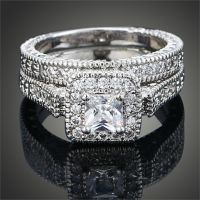 Sz 6 9 Princess Cut 10K White Gold Filled AAA Cubic ...