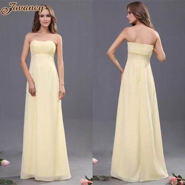 Elegant Strapless Line Prom Dress Chiffon Light Yellow