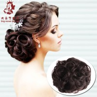 Women Curly Chignon Clip in Elastic Fake Hair Bun Updo ...