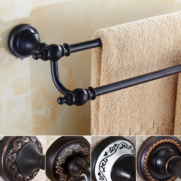 Oil Rubbed Bronze Towel Bar 60 64cm Bathroom Accessories Set Double Rail Holder Wall