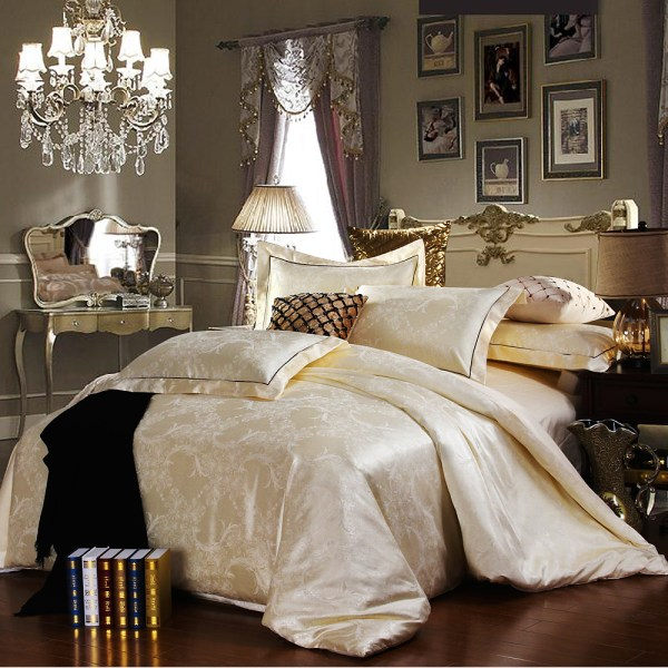 Luxury Tribute Silk Satin Jacquard Bedclothes Bedding Set Wedding Noble Palace Bed