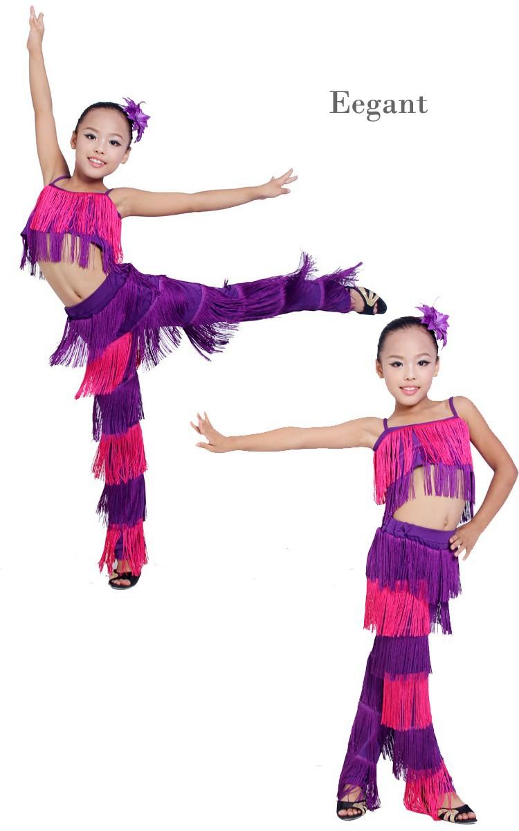 ed30393bd ⑥2018 Latin Dance Dress For Girls Stage Costumes Tassel Cha Cha ...