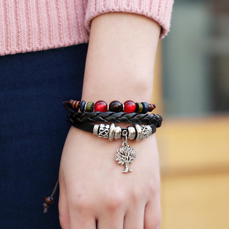 nouvelle Mode Fait Main Tricoté En Cuir Bracelet Pour Hommes femmes Punk En  Cuir Tressé Twist Bracelet Unisexe Giftt e6d41ac7a448