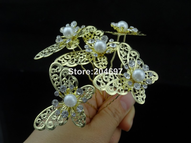 Feelgood 120pcs lot Silver Color Butterfly Crystal PearlHair Pins Wedding  Bridal Hair Accessories Whoesale Metal Hair Clips 3a30b61ef1dd