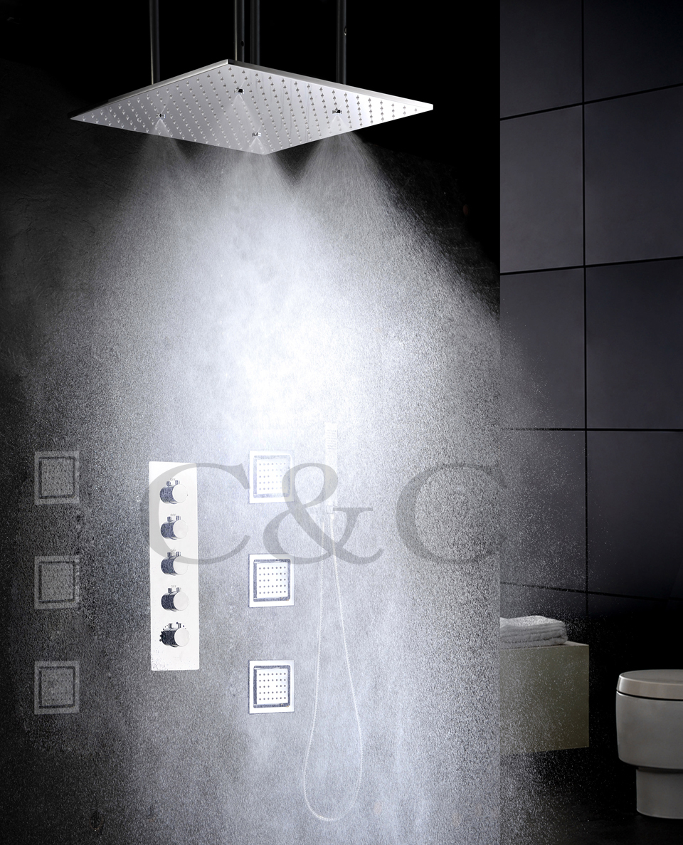 Atomizing And Rainfall Bathroom Shower Faucet Set 20 Inch Two Functions Shower Head And Massage Spray