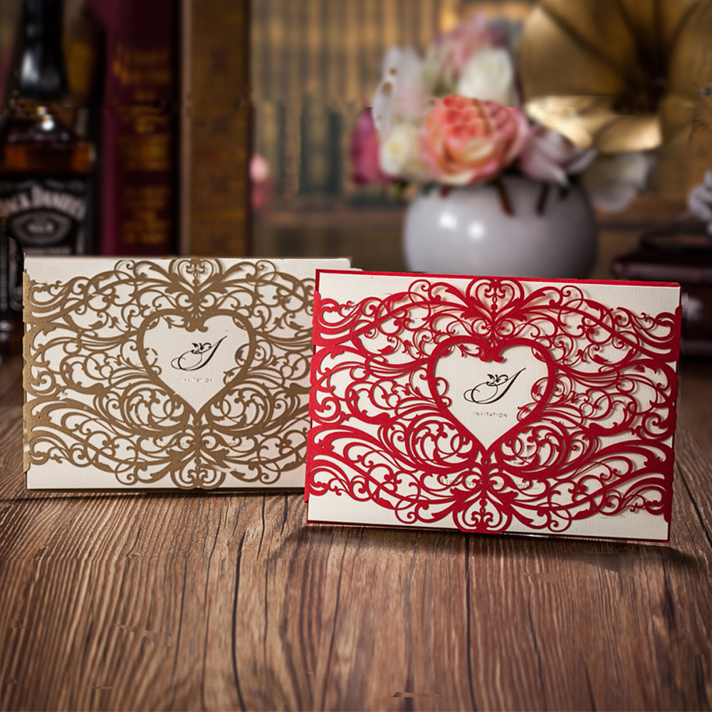 ≧25pcs Heart Style Laser Cut Wedding Invitation Cards, Red or Gold ...