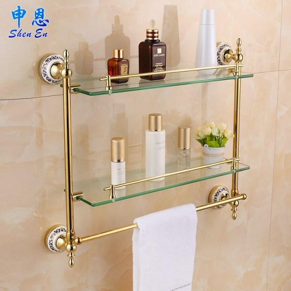 European Gilding Bathroom Shelf Toilet Glass Towel