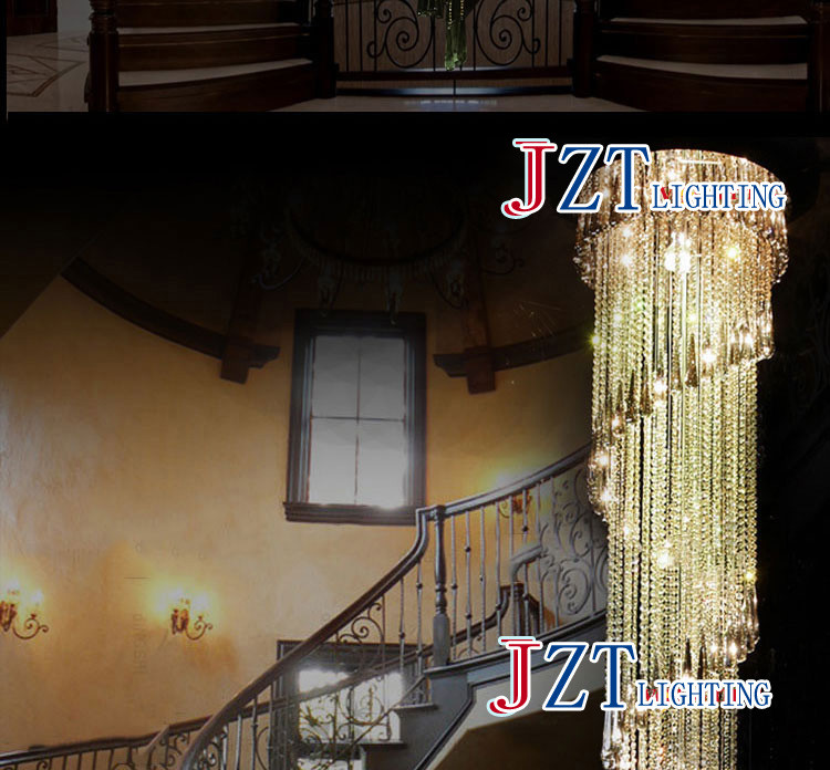 ZYY Modernen Klaren LED K9 Kristall Kronleuchter Lange Suspension  Verbindung Drehen Villa Treppe Hängenden Lampe Esszimmer Lampe Droplight