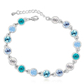 Trendy Bijouterie Crystal from Swarovski Bracelets For Women Heart Vintage Fashion Jewelry 18K White Gold Plated 1891