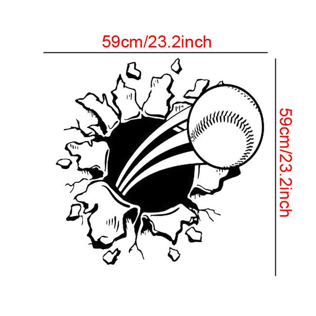 Baseball Wall Decor Sport Style Wall Sticker Gymnasium Art