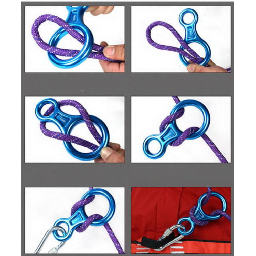Figure 8 Mountaineering Climbing Rappelling Ring Belay Device 35KN Downhill Protection For Rescue Aerial Game Gear