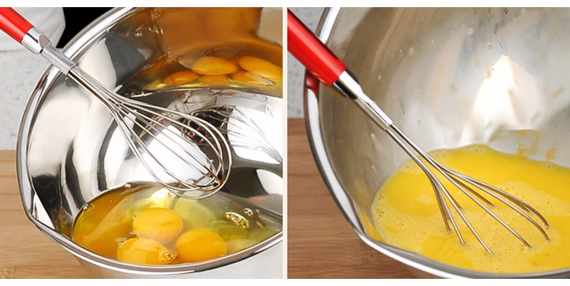 ୧ʕ ʔ୨1pc High Quality Metal Stainless Steel Manual Egg Beaters Egg