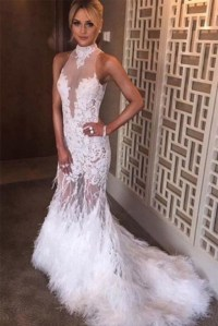 White Tulle Lace High Neck Backless Feathers Sexy Mermaid ...