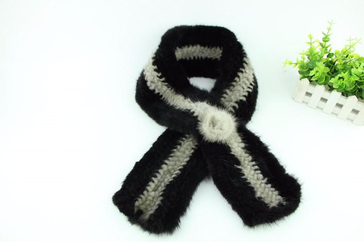 ᗖNuevo invierno de alta calidad de piel de visón bufandas de punto ...