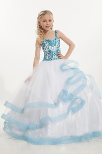 Blue Beads Ball Gown Girls Pageant Dresses Custom Made ...