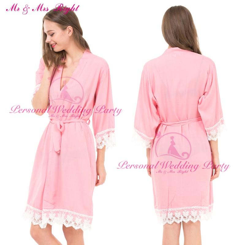 Atractivo más nuevo atractivo estilo Kimono Robe novia algodón corto ...