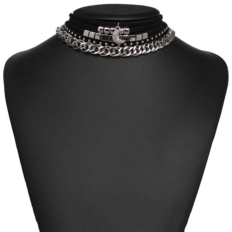 a72369915b1e ₪5 pcs ensemble 2 couleurs Nouveau en cuir collier ras du cou ...