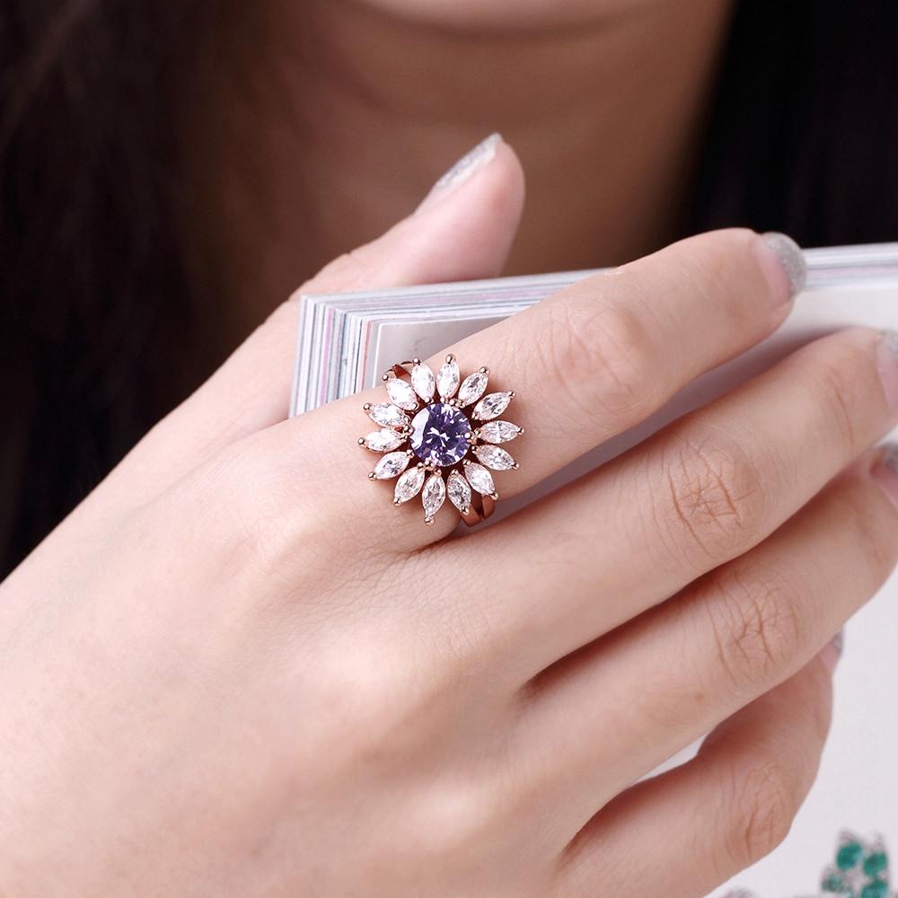ღ Ƹ̵̡Ӝ̵̨̄Ʒ ღRose Gold Color Big Flower Finger Ring for Women with ...