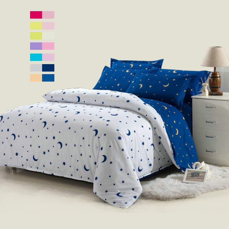 Hot sale! 4pcs white moon and star bedding set white bed