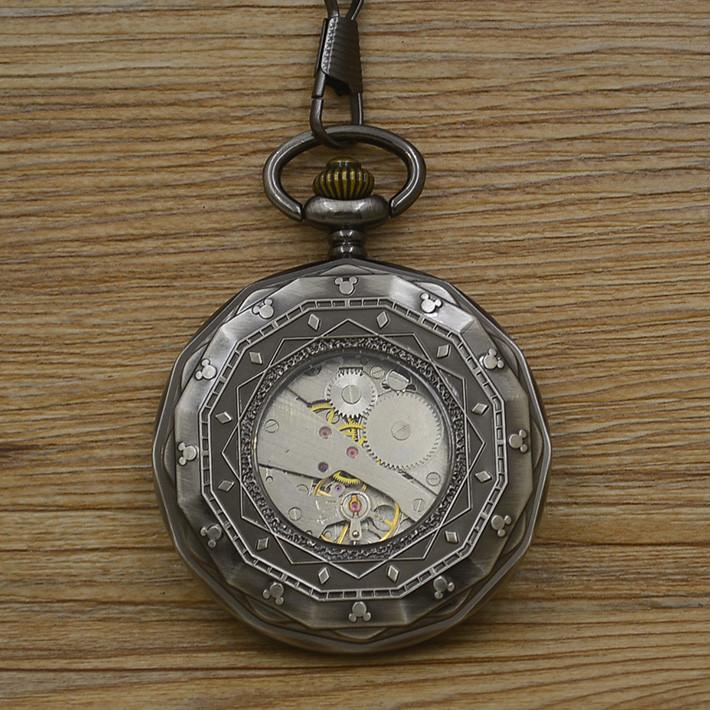 d93070493e9 っAtacado moda homens vento mão Mecânica Pocket Watch número roman ...