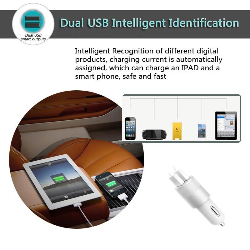 סגסוגת באיכות 2 יציאת USB מטען לרכב מטען לטלפון מהר תשלום עבור iPhone 5 I6 ipad S4 S5 S6 Smartphone Tablet אריזה נחמדה
