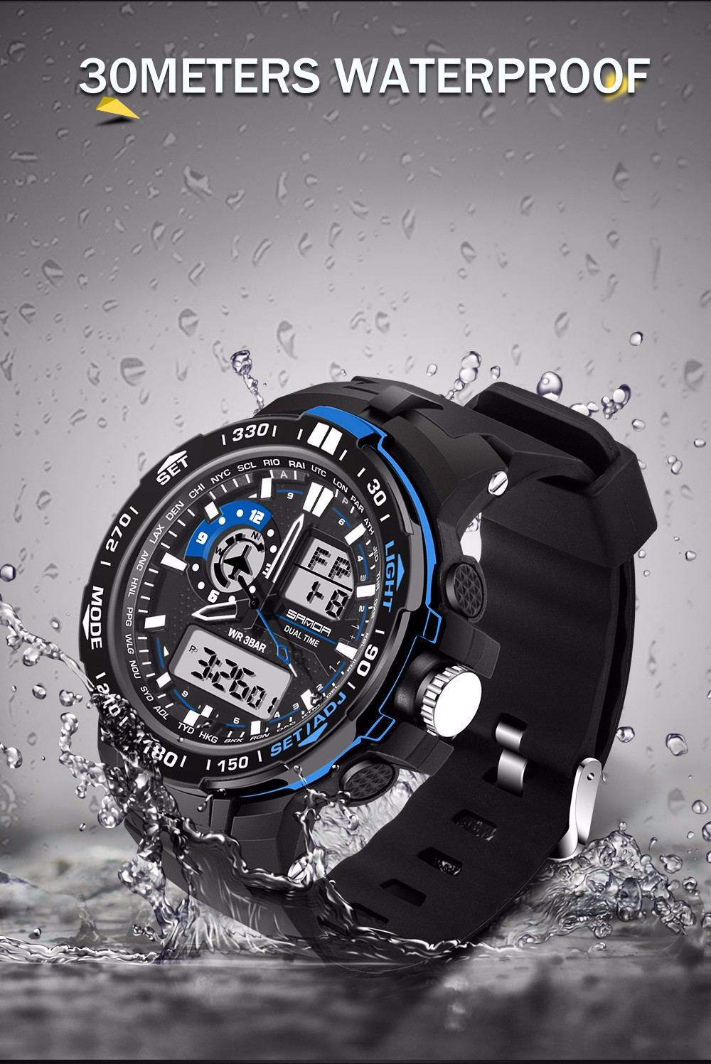 Watch Men Sport Sanda Luxury Brand Fashion Quartz C180 Mopar Fuse Relay Box 3do Not Stay Too Long Time In Water