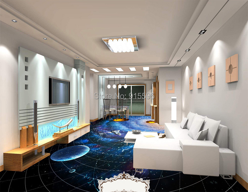 ᗐcustom foto vloer behang moderne art universe planet 3d woonkamer