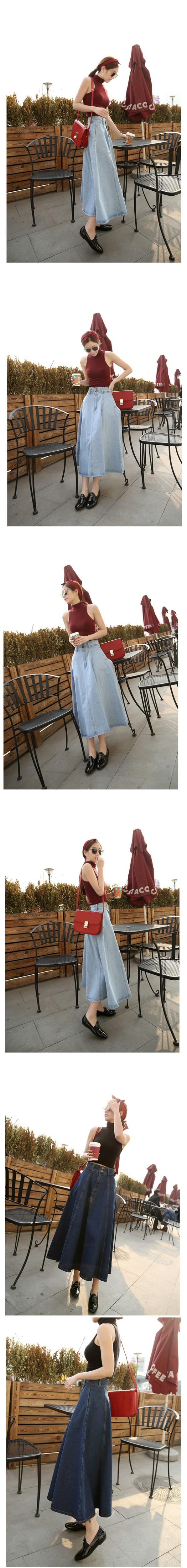 New Fashion Summer Autumn Women Slim Long Denim Skirt A Line Tig Welding Handpiece Diagram 1 2