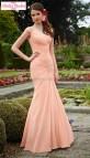 Peach Long Sleeve Mermaid Wedding Dress