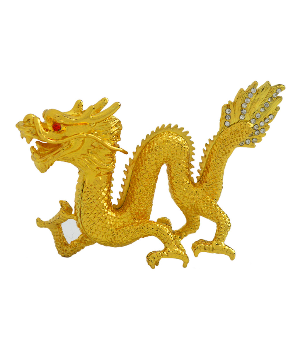 ②2017 New Feng Shui Figurines Bejeweled Gold Dragon Decoration ...