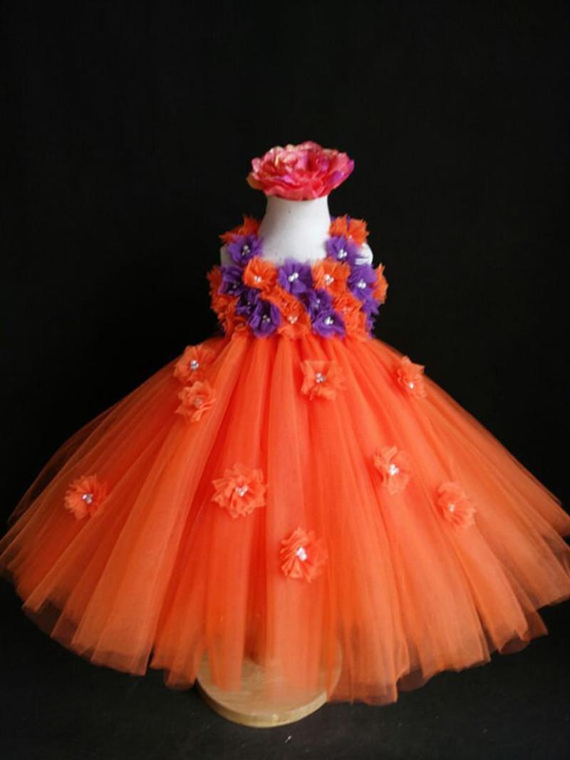 Nflower Girls Dresses For Party And Wedding Orange Purple Girl