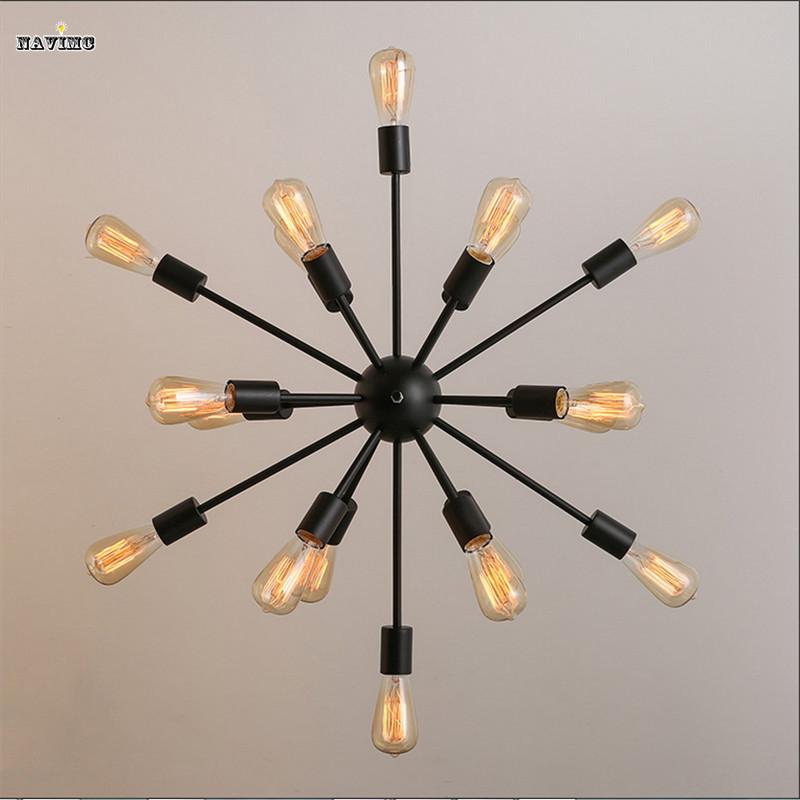 ᗛNegro industrial hierro forjado Iluminación vintage metal grande ...