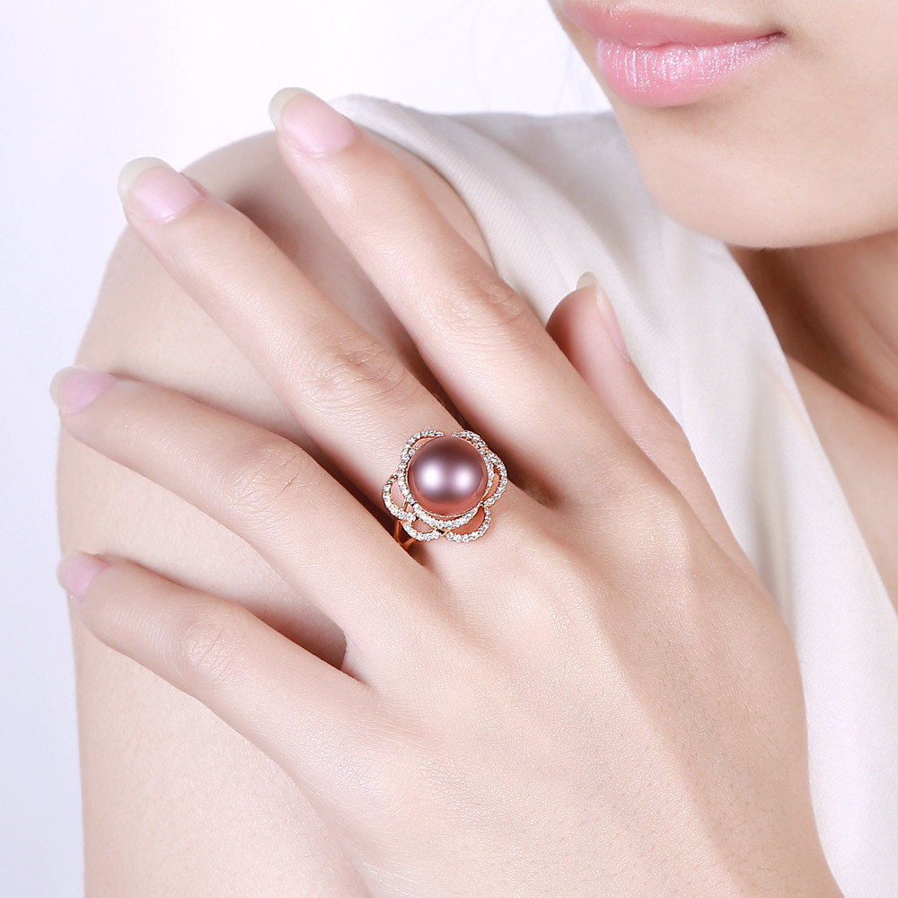 ᗕ18k Yellow Gold precious 11-12mm Round Freshwater Pearl Ring 0.36 ...