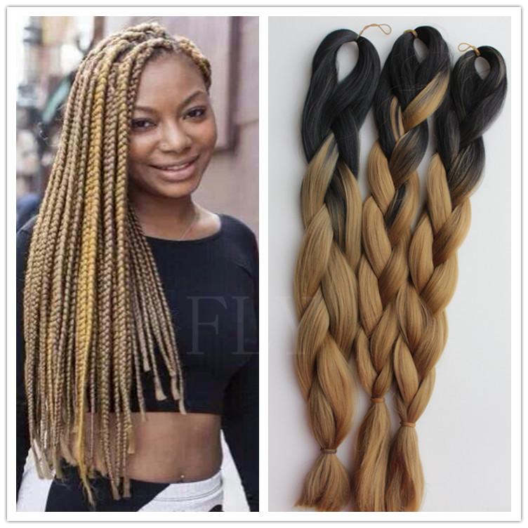 (3packs/lot )ombre kanekalon braiding hair synthetic hair