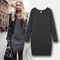 Hot Sale!! Women Winter Dress 2015 New Fashion Pure Color ...