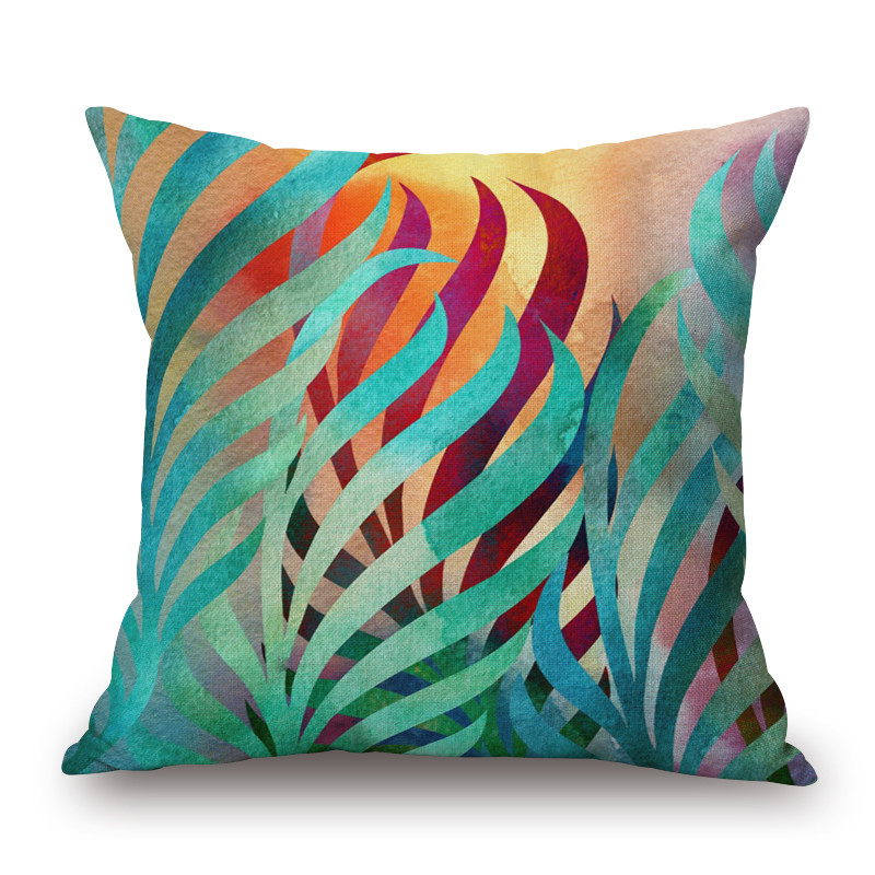 45x 45cm Creative Tropical Leaf Pattern Cushion Cover Cotton Linen Pillow  Cover Cushion Case Sofa Bed Decorative Pillows Case