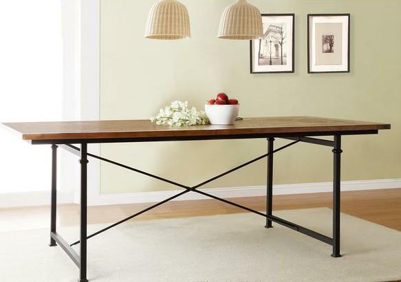 mobili country americano  solido tavolo da pranzo in legno fatta di vecchio ferro arrugginito