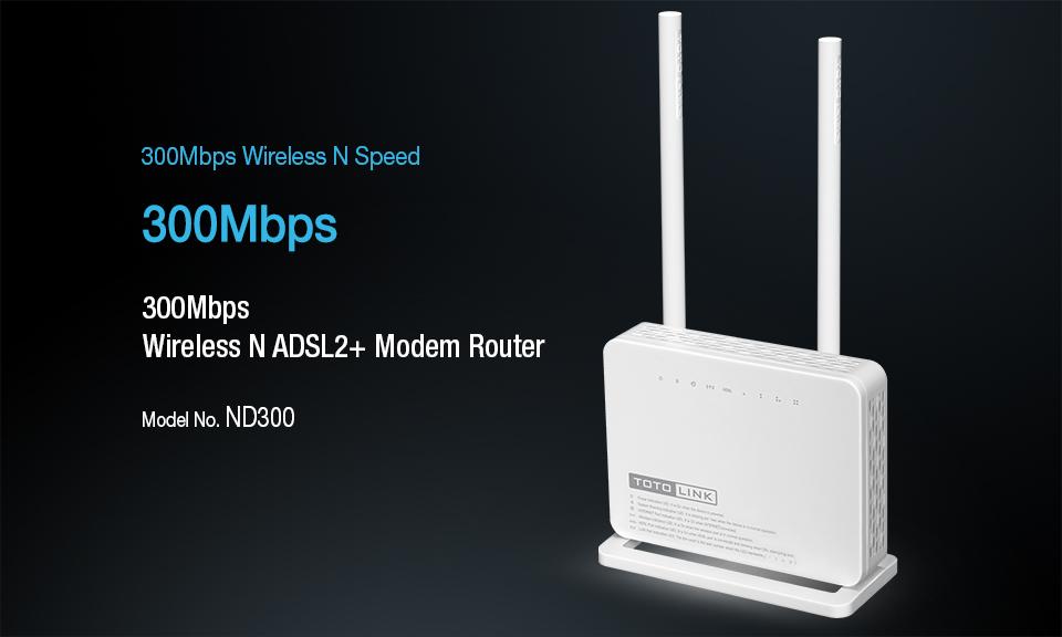 TOTOLINK ND300 multifunktionale Drahtlose N 300 Mbps ADSL 2 + Modem ...