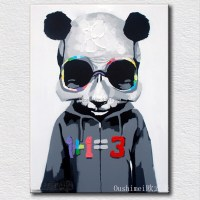 New Panda Paintings Hand Painted Picture On Canvas