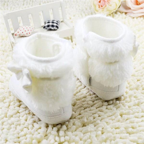▻Bebé recién nacido Niñas blanco bowknot Patucos prewalker suave ...