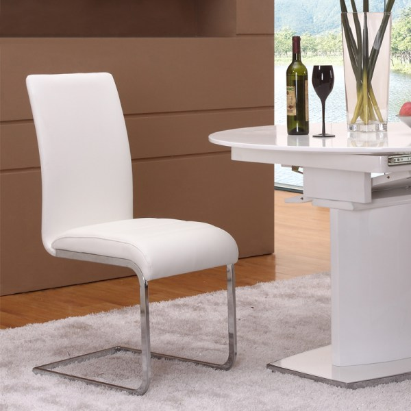 White Leather Modern Dining Room Chairs