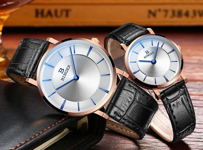 c67ef6b7907 Relógio dos homens de luxo da marca suíça BINGER B9013-3 ultrafinos relógios  de Pulso de quartzo com pulseira de couro À Prova D