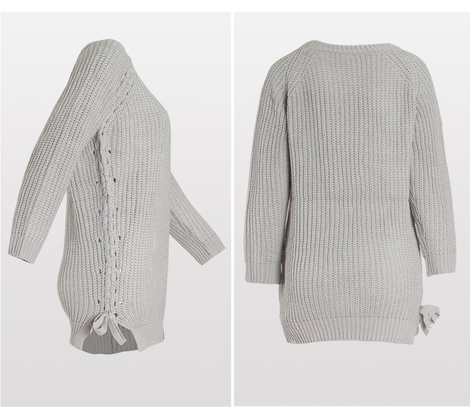 இMujeres primavera Casual Knitted suéter de manga larga de punto O ...