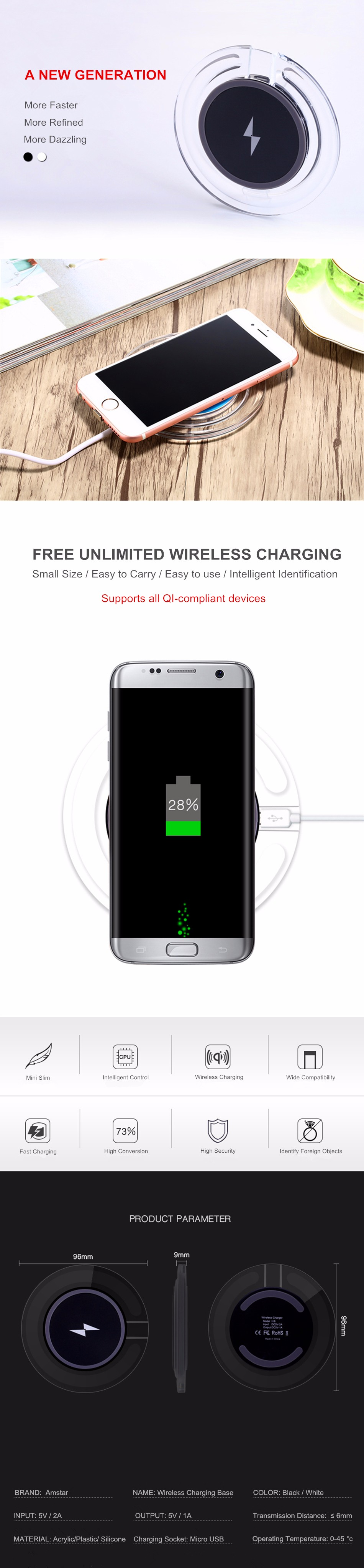 Amstar Wireless Charger Qi Charging Pad For Iphone X 8 Universal Receiver Reveres Port Smartphone Plus 7 6s 6 5s 5c 5
