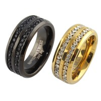 black gold crystal his and her promise ring sets wedding ...