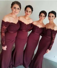 Long Sleeves Mermaid Bridesmaid Dresses 2016 Dark Red ...