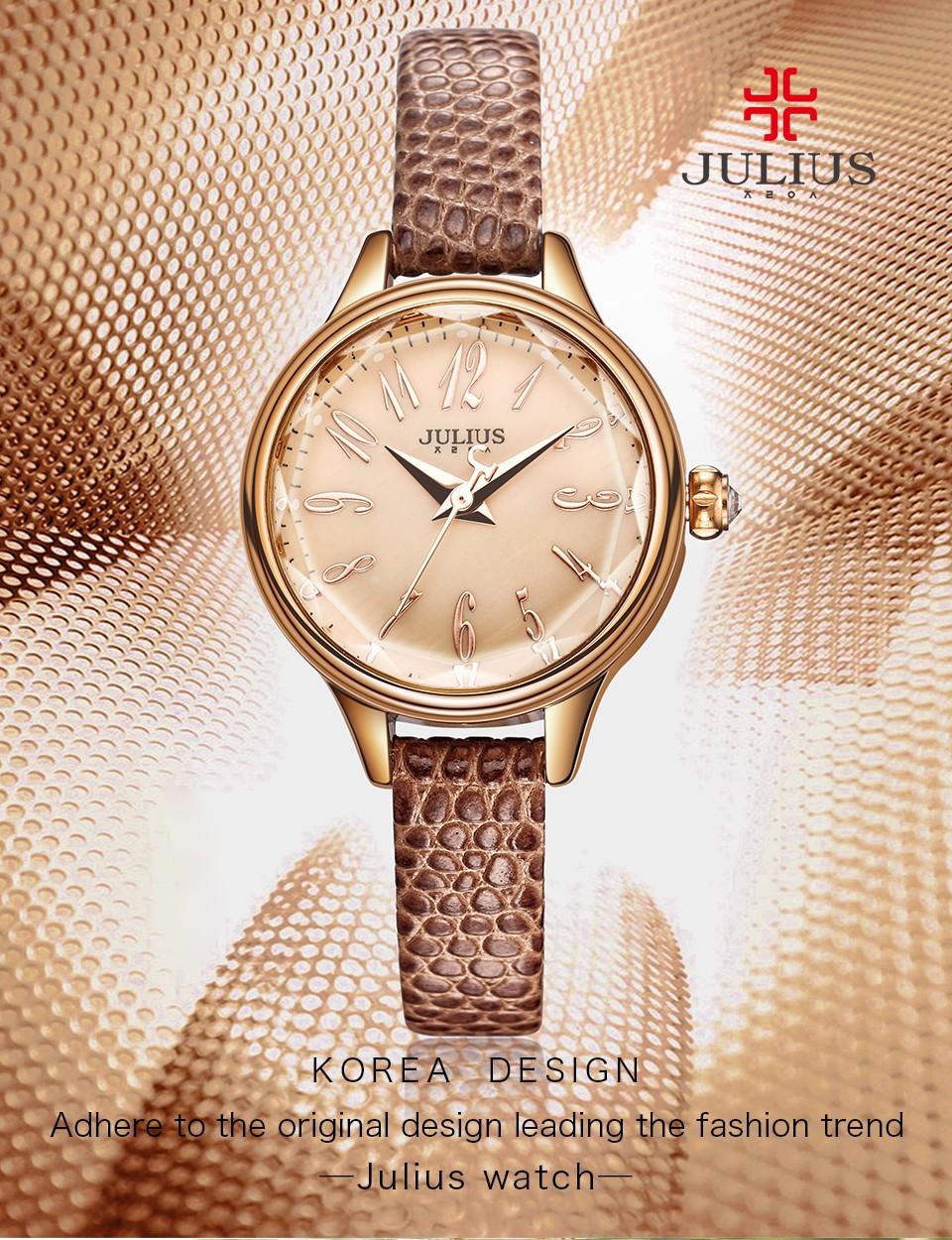 Julio 2016 invierno nuevo cocodrilo genuino correa de cuero Rosa oro relojes  mujer dama moda vestido muñeca reloj horas reloj ja-932Marca  JuliusModelo   ... e858fd90e8ab