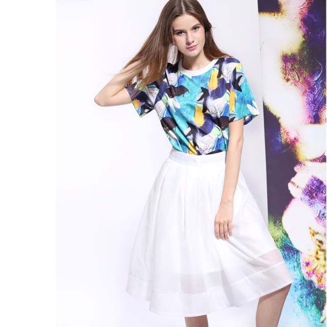 Printed Shirt with Skirt