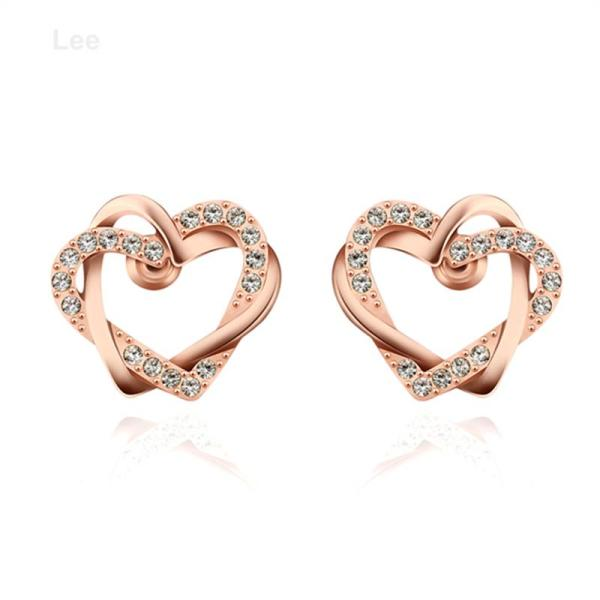 E745 Cute Crystal Earring Heart Shape Earrings Attractive Little Girls Top Selling